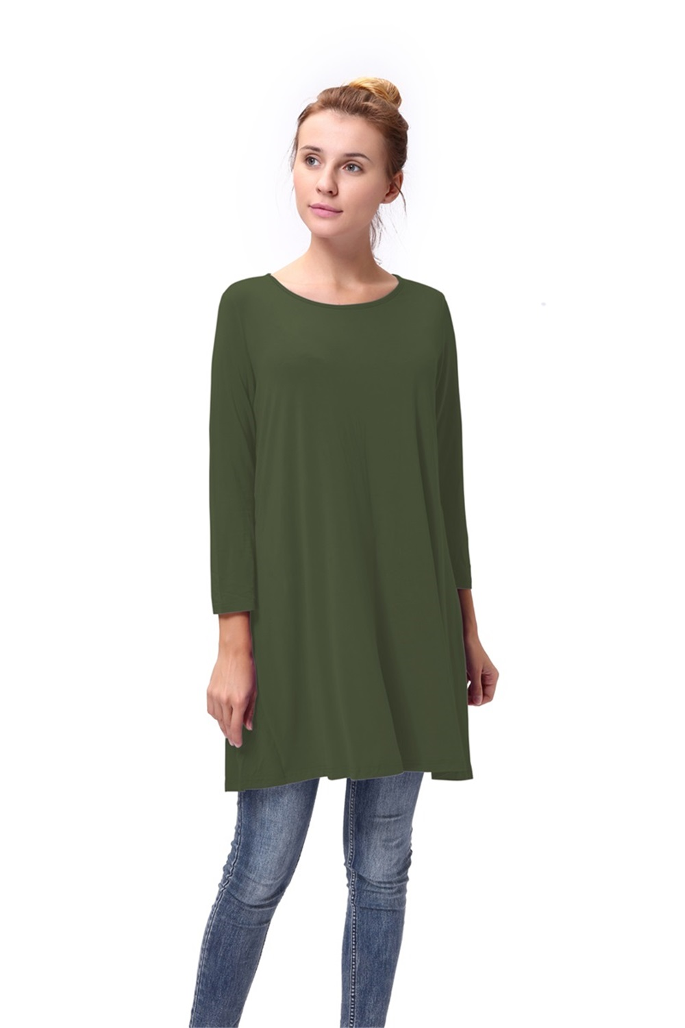 Women-Casual-Round-Neck-3-4-Long-Sleeve-Trapeze-Tunic-Top-Lady-Loose-Fit-Dress thumbnail 7