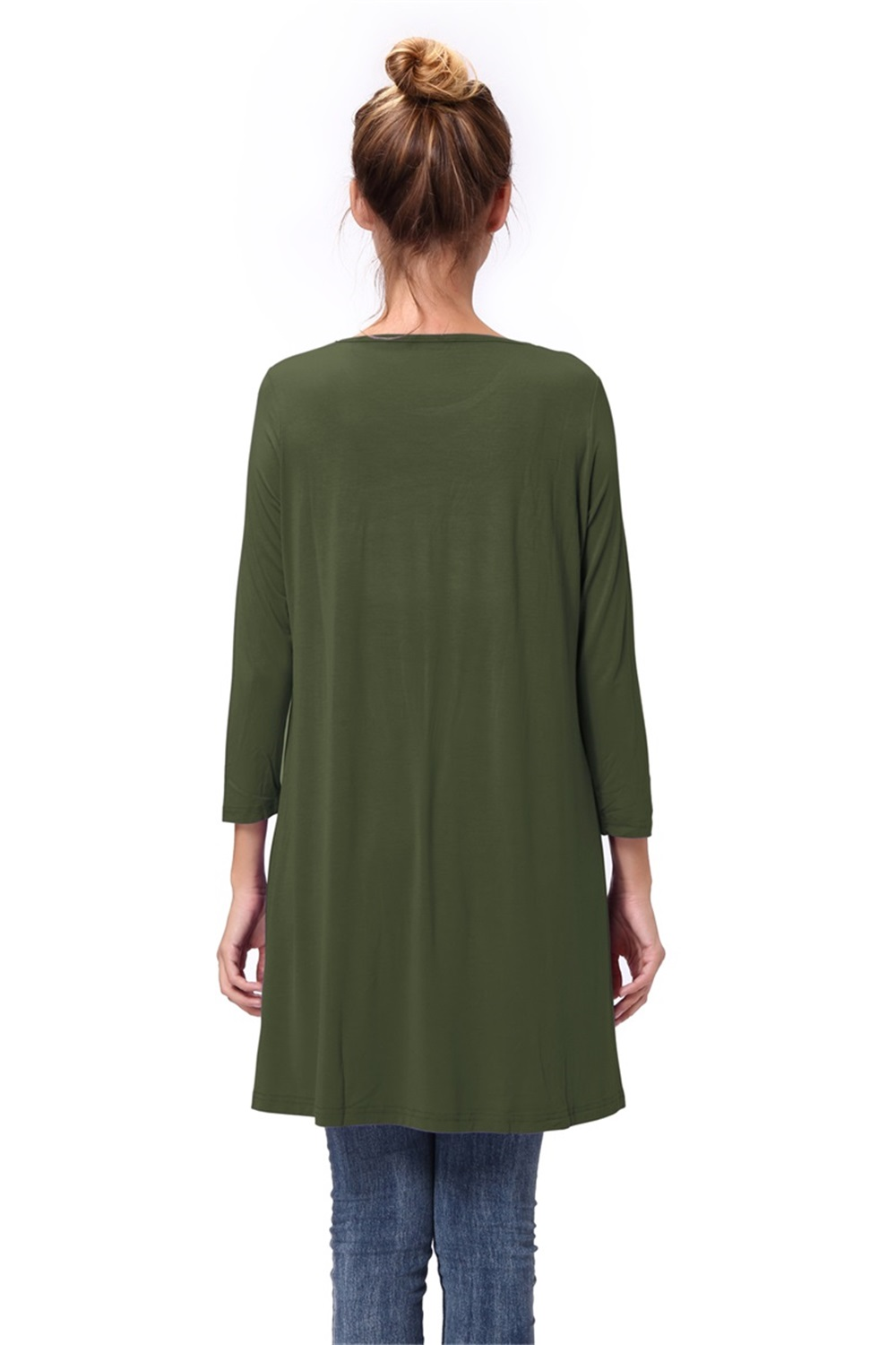 Women-Casual-Round-Neck-3-4-Long-Sleeve-Trapeze-Tunic-Top-Lady-Loose-Fit-Dress thumbnail 8