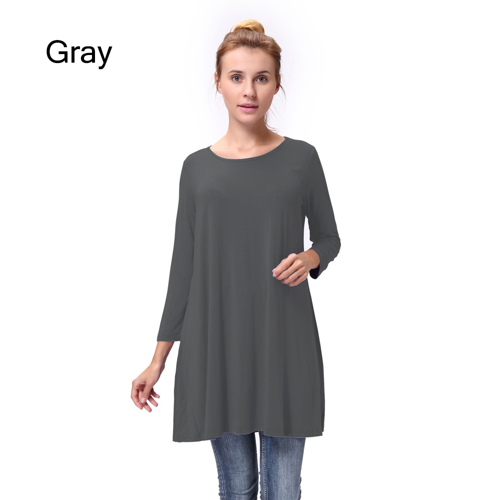 Women-Casual-Round-Neck-3-4-Long-Sleeve-Trapeze-Tunic-Top-Lady-Loose-Fit-Dress thumbnail 26