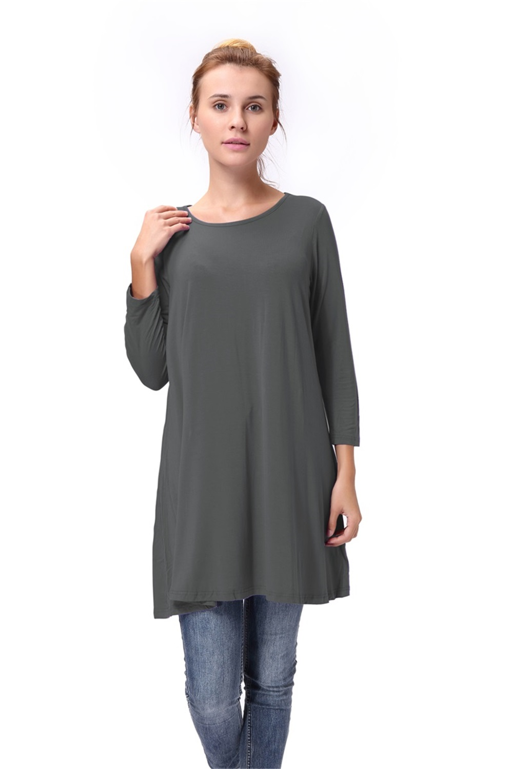 Women-Casual-Round-Neck-3-4-Long-Sleeve-Trapeze-Tunic-Top-Lady-Loose-Fit-Dress thumbnail 27