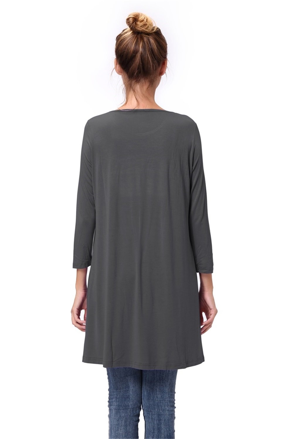 Women-Casual-Round-Neck-3-4-Long-Sleeve-Trapeze-Tunic-Top-Lady-Loose-Fit-Dress thumbnail 28
