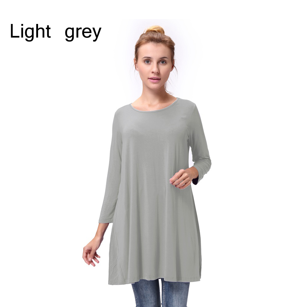 Women-Casual-Round-Neck-3-4-Long-Sleeve-Trapeze-Tunic-Top-Lady-Loose-Fit-Dress thumbnail 34