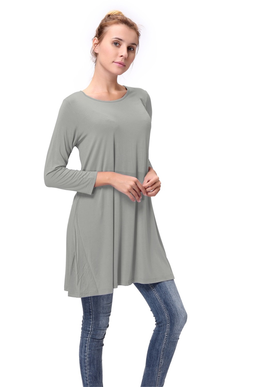Women-Casual-Round-Neck-3-4-Long-Sleeve-Trapeze-Tunic-Top-Lady-Loose-Fit-Dress thumbnail 35