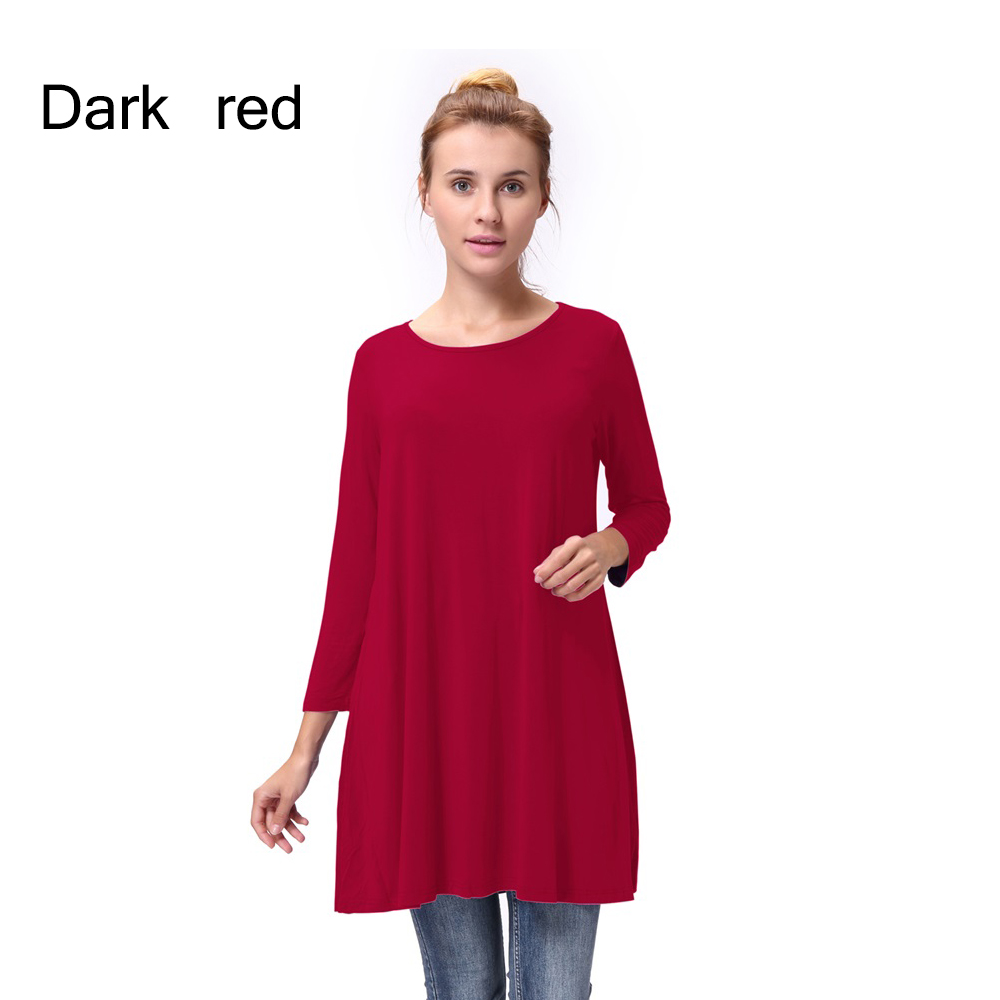 Women-Casual-Round-Neck-3-4-Long-Sleeve-Trapeze-Tunic-Top-Lady-Loose-Fit-Dress thumbnail 22