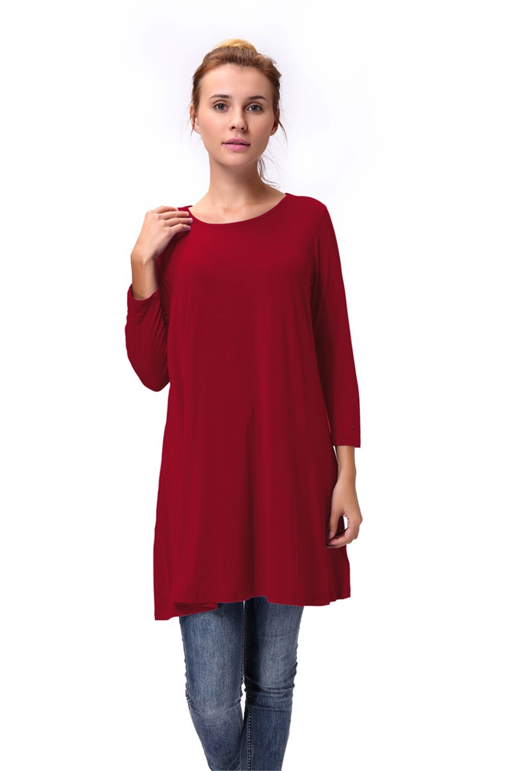 Women-Casual-Round-Neck-3-4-Long-Sleeve-Trapeze-Tunic-Top-Lady-Loose-Fit-Dress thumbnail 23