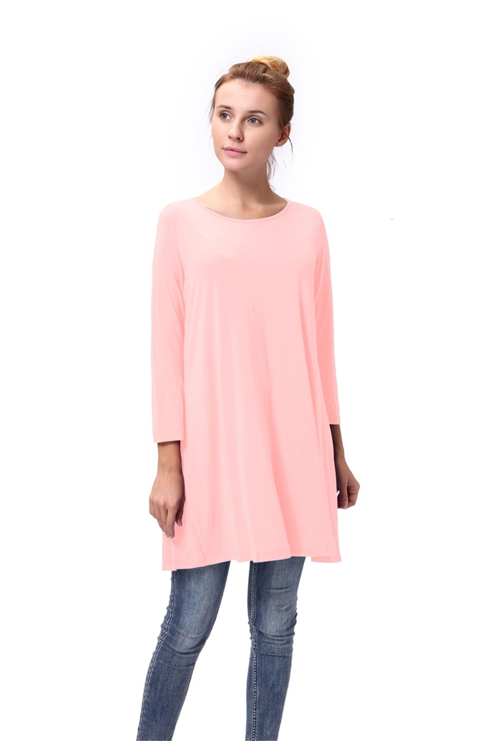 Women-Casual-Round-Neck-3-4-Long-Sleeve-Trapeze-Tunic-Top-Lady-Loose-Fit-Dress thumbnail 39