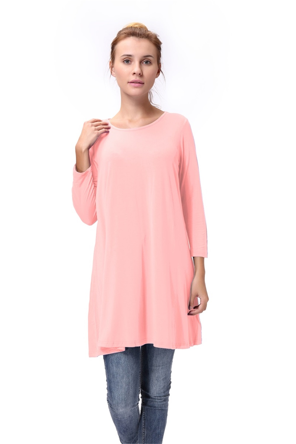 Women-Casual-Round-Neck-3-4-Long-Sleeve-Trapeze-Tunic-Top-Lady-Loose-Fit-Dress thumbnail 40