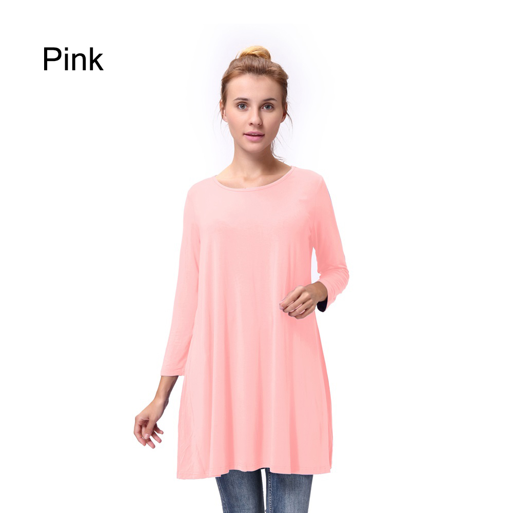 Women-Casual-Round-Neck-3-4-Long-Sleeve-Trapeze-Tunic-Top-Lady-Loose-Fit-Dress thumbnail 38