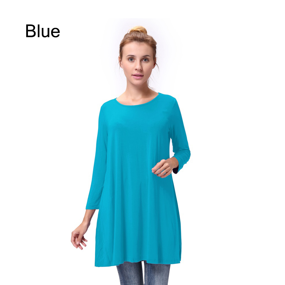 Women-Casual-Round-Neck-3-4-Long-Sleeve-Trapeze-Tunic-Top-Lady-Loose-Fit-Dress thumbnail 30
