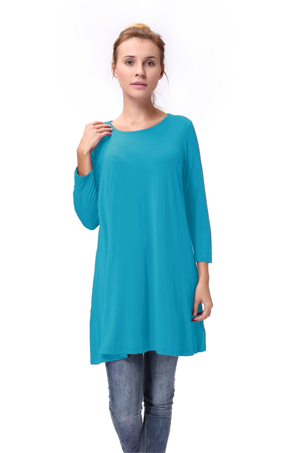 Women-Casual-Round-Neck-3-4-Long-Sleeve-Trapeze-Tunic-Top-Lady-Loose-Fit-Dress thumbnail 31