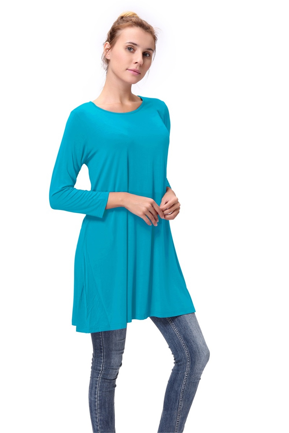 Women-Casual-Round-Neck-3-4-Long-Sleeve-Trapeze-Tunic-Top-Lady-Loose-Fit-Dress thumbnail 32