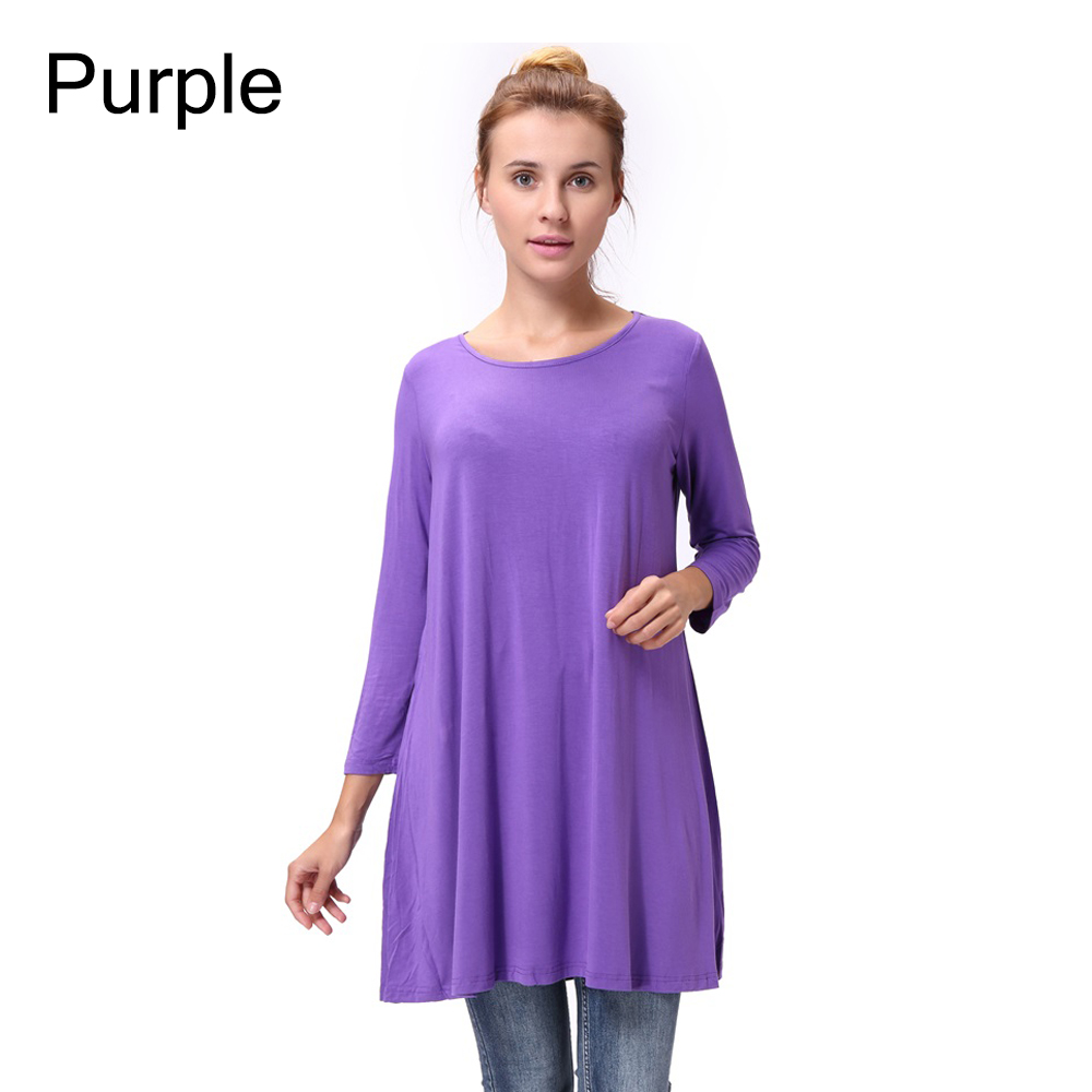 Women-Casual-Round-Neck-3-4-Long-Sleeve-Trapeze-Tunic-Top-Lady-Loose-Fit-Dress thumbnail 42