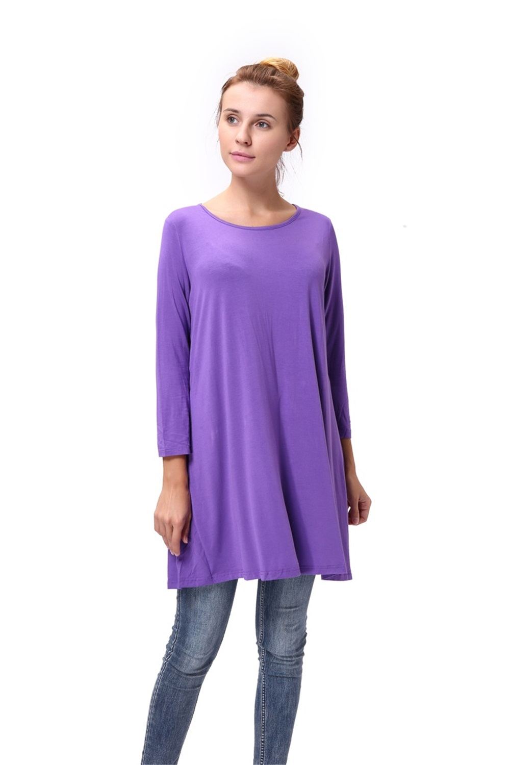 Women-Casual-Round-Neck-3-4-Long-Sleeve-Trapeze-Tunic-Top-Lady-Loose-Fit-Dress thumbnail 43