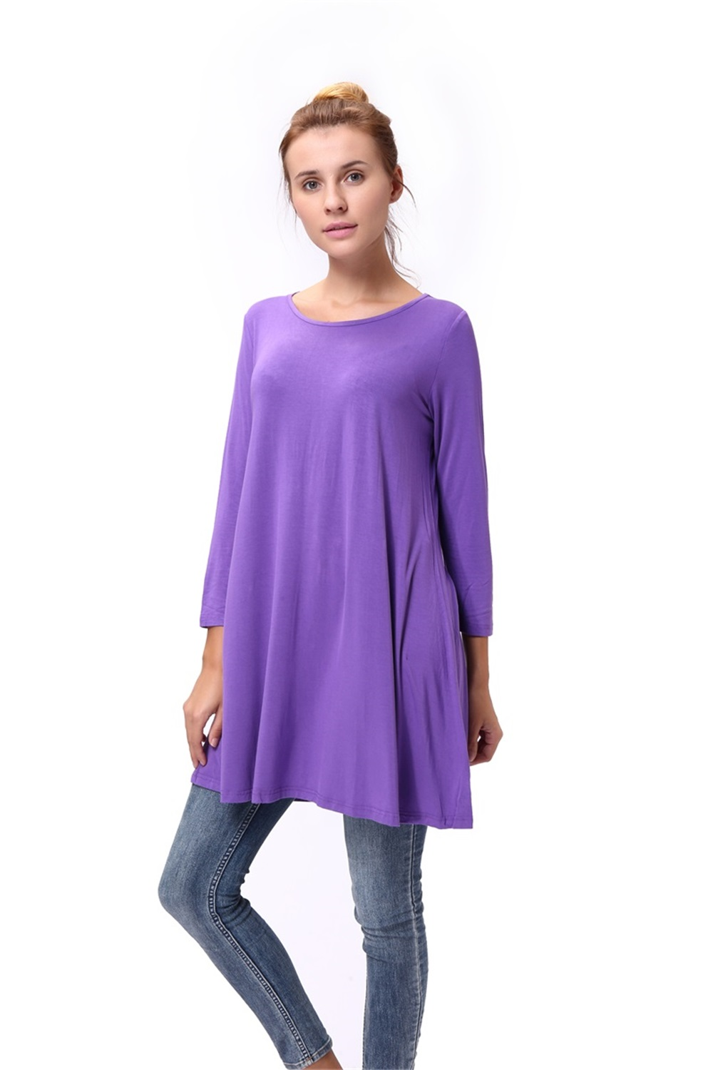 Women-Casual-Round-Neck-3-4-Long-Sleeve-Trapeze-Tunic-Top-Lady-Loose-Fit-Dress thumbnail 44