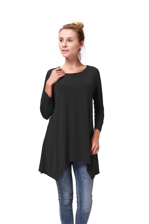 Women-Long-Tunic-Solid-Scoop-Neck-Top-3-4-Sleeve-Trapeze-Dress-Loose-Shirt-S-XL thumbnail 14