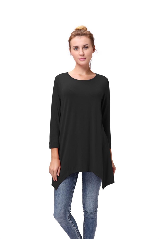 Women-Long-Tunic-Solid-Scoop-Neck-Top-3-4-Sleeve-Trapeze-Dress-Loose-Shirt-S-XL thumbnail 15