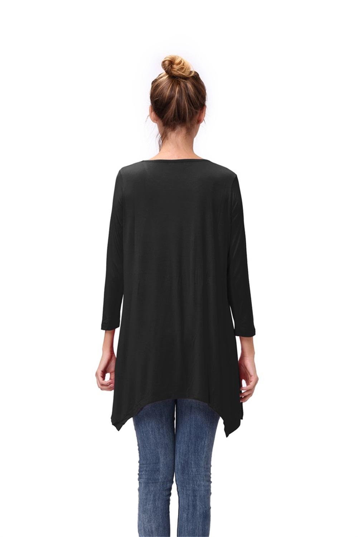 Women-Long-Tunic-Solid-Scoop-Neck-Top-3-4-Sleeve-Trapeze-Dress-Loose-Shirt-S-XL thumbnail 16