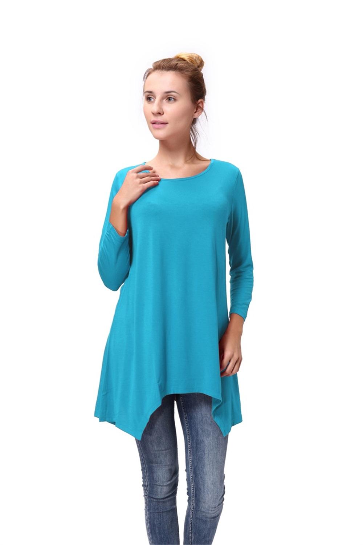 Women-Long-Tunic-Solid-Scoop-Neck-Top-3-4-Sleeve-Trapeze-Dress-Loose-Shirt-S-XL thumbnail 31