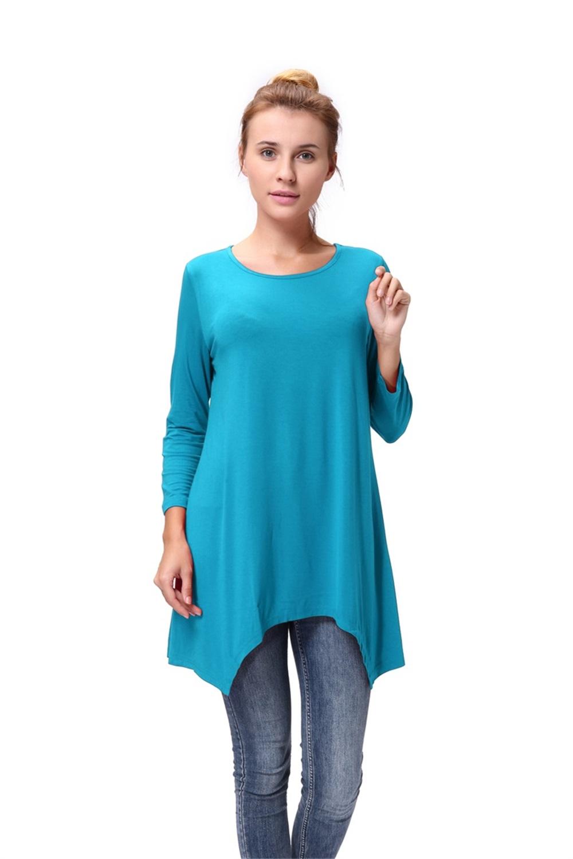Women-Long-Tunic-Solid-Scoop-Neck-Top-3-4-Sleeve-Trapeze-Dress-Loose-Shirt-S-XL thumbnail 32