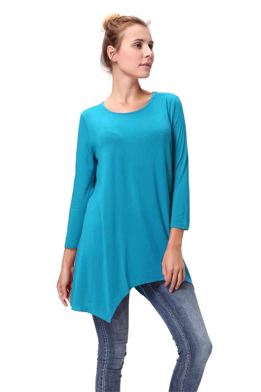 Women-Long-Tunic-Solid-Scoop-Neck-Top-3-4-Sleeve-Trapeze-Dress-Loose-Shirt-S-XL thumbnail 33