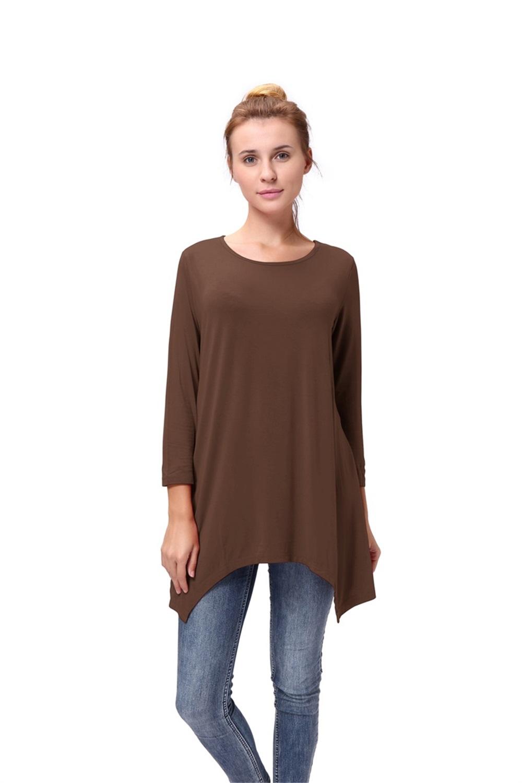 Women-Long-Tunic-Solid-Scoop-Neck-Top-3-4-Sleeve-Trapeze-Dress-Loose-Shirt-S-XL thumbnail 19