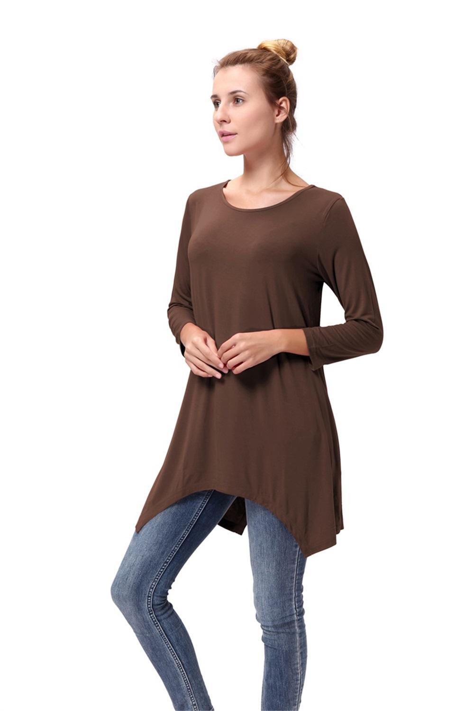 Women-Long-Tunic-Solid-Scoop-Neck-Top-3-4-Sleeve-Trapeze-Dress-Loose-Shirt-S-XL thumbnail 20