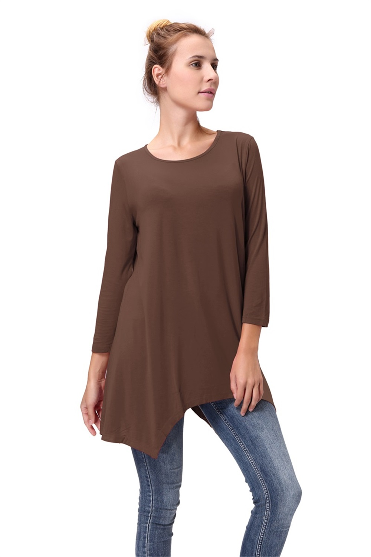 Women-Long-Tunic-Solid-Scoop-Neck-Top-3-4-Sleeve-Trapeze-Dress-Loose-Shirt-S-XL thumbnail 21