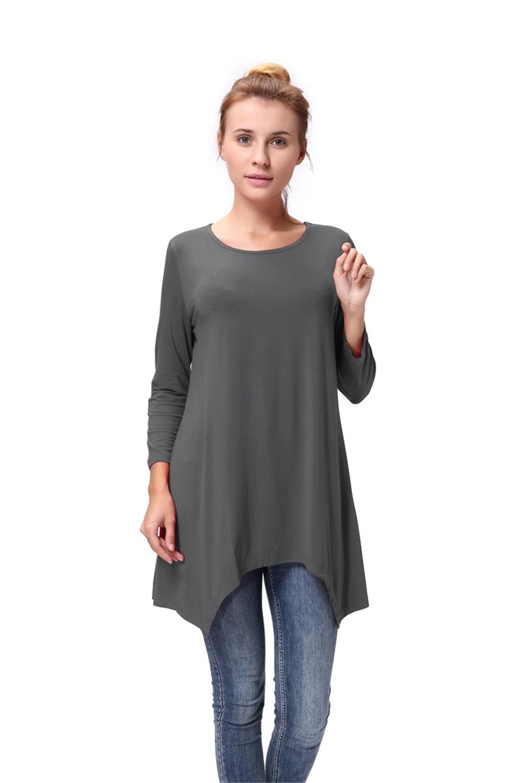 Women-Long-Tunic-Solid-Scoop-Neck-Top-3-4-Sleeve-Trapeze-Dress-Loose-Shirt-S-XL thumbnail 27