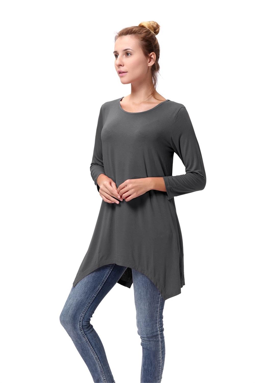 Women-Long-Tunic-Solid-Scoop-Neck-Top-3-4-Sleeve-Trapeze-Dress-Loose-Shirt-S-XL thumbnail 29