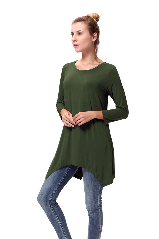 Women-Long-Tunic-Solid-Scoop-Neck-Top-3-4-Sleeve-Trapeze-Dress-Loose-Shirt-S-XL thumbnail 6