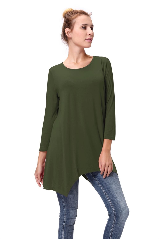 Women-Long-Tunic-Solid-Scoop-Neck-Top-3-4-Sleeve-Trapeze-Dress-Loose-Shirt-S-XL thumbnail 7