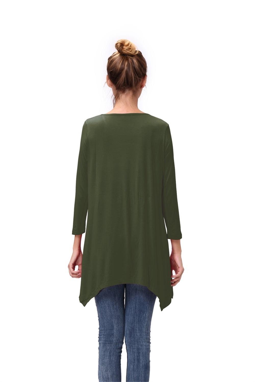 Women-Long-Tunic-Solid-Scoop-Neck-Top-3-4-Sleeve-Trapeze-Dress-Loose-Shirt-S-XL thumbnail 8