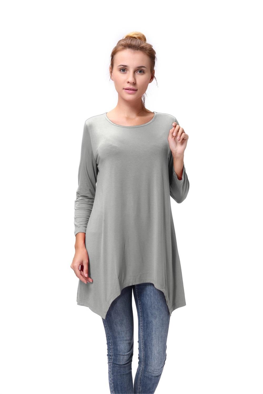 Women-Long-Tunic-Solid-Scoop-Neck-Top-3-4-Sleeve-Trapeze-Dress-Loose-Shirt-S-XL thumbnail 35
