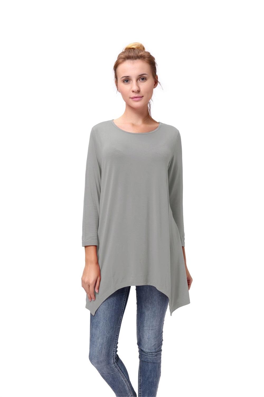 Women-Long-Tunic-Solid-Scoop-Neck-Top-3-4-Sleeve-Trapeze-Dress-Loose-Shirt-S-XL thumbnail 36