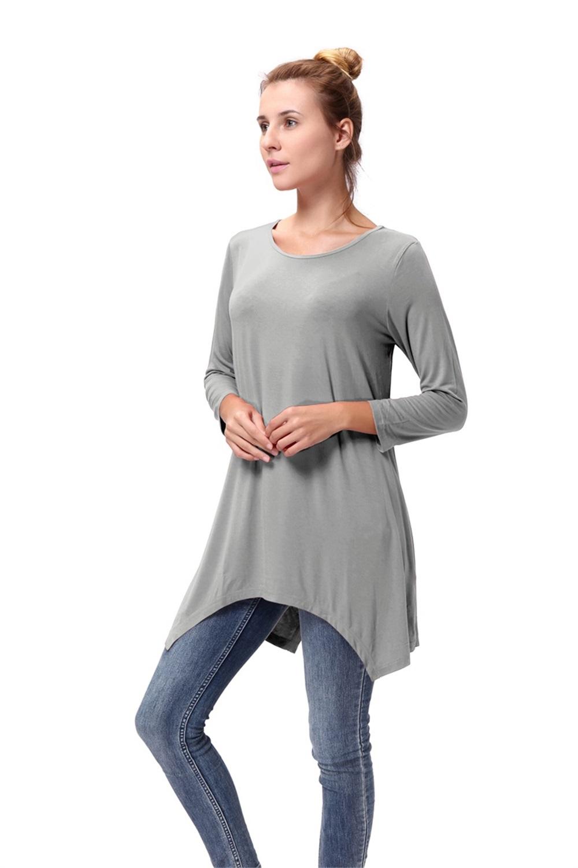 Women-Long-Tunic-Solid-Scoop-Neck-Top-3-4-Sleeve-Trapeze-Dress-Loose-Shirt-S-XL thumbnail 37