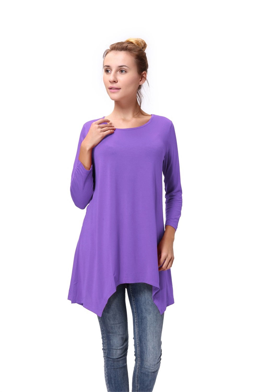 Women-Long-Tunic-Solid-Scoop-Neck-Top-3-4-Sleeve-Trapeze-Dress-Loose-Shirt-S-XL thumbnail 43