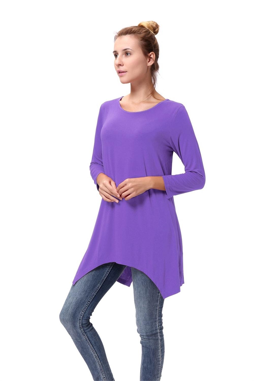 Women-Long-Tunic-Solid-Scoop-Neck-Top-3-4-Sleeve-Trapeze-Dress-Loose-Shirt-S-XL thumbnail 44