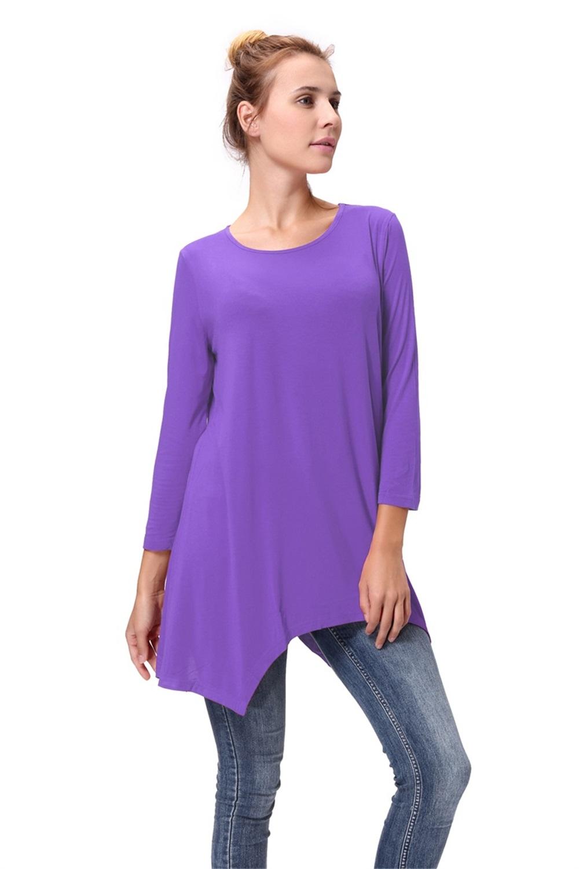 Women-Long-Tunic-Solid-Scoop-Neck-Top-3-4-Sleeve-Trapeze-Dress-Loose-Shirt-S-XL thumbnail 45