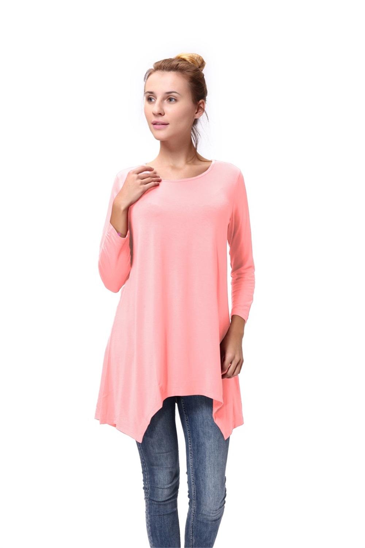 Women-Long-Tunic-Solid-Scoop-Neck-Top-3-4-Sleeve-Trapeze-Dress-Loose-Shirt-S-XL thumbnail 39