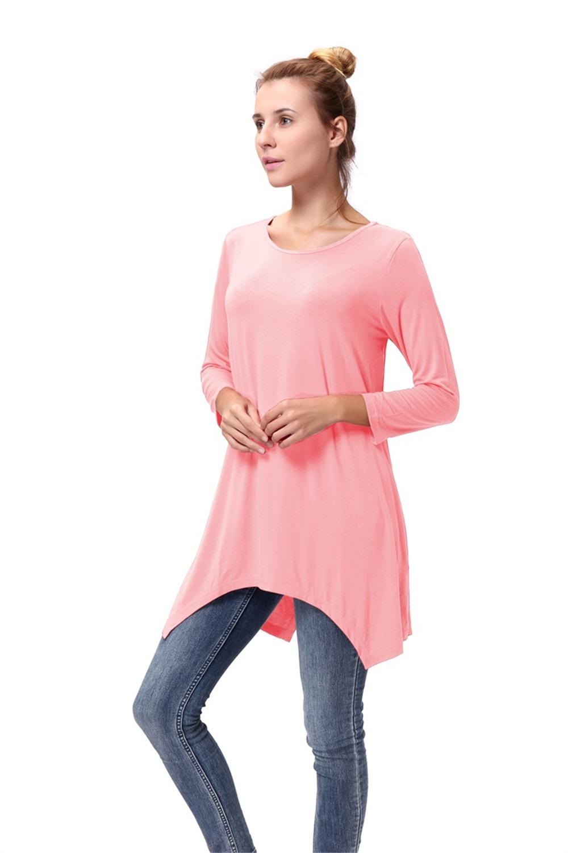 Women-Long-Tunic-Solid-Scoop-Neck-Top-3-4-Sleeve-Trapeze-Dress-Loose-Shirt-S-XL thumbnail 40