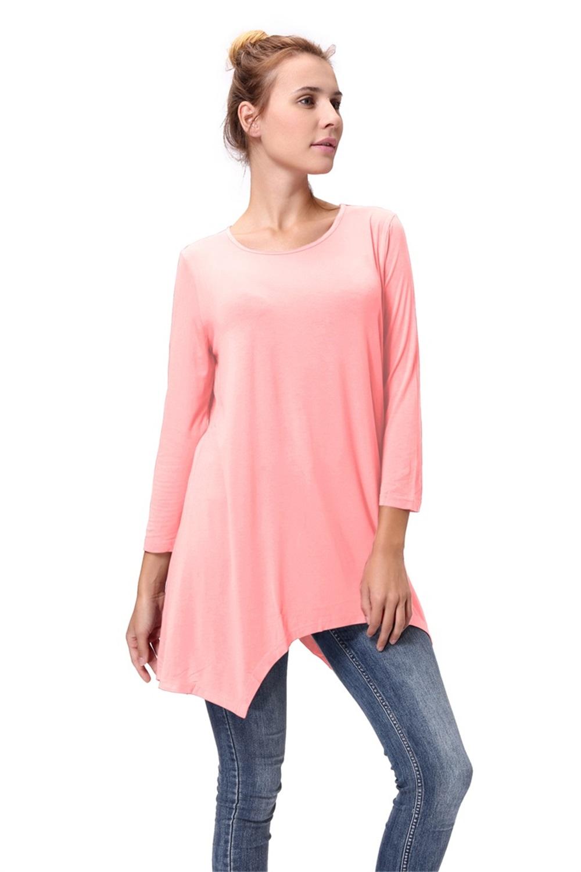 Women-Long-Tunic-Solid-Scoop-Neck-Top-3-4-Sleeve-Trapeze-Dress-Loose-Shirt-S-XL thumbnail 41