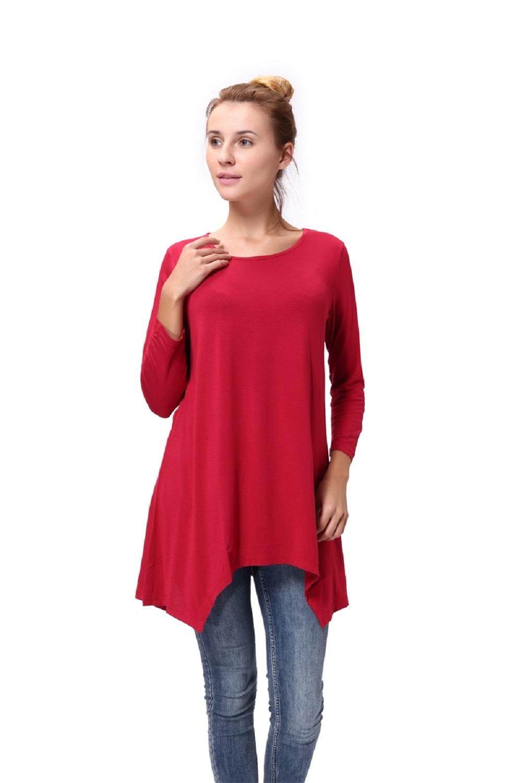 Women-Long-Tunic-Solid-Scoop-Neck-Top-3-4-Sleeve-Trapeze-Dress-Loose-Shirt-S-XL thumbnail 10