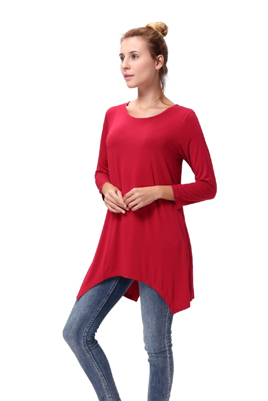 Women-Long-Tunic-Solid-Scoop-Neck-Top-3-4-Sleeve-Trapeze-Dress-Loose-Shirt-S-XL thumbnail 12