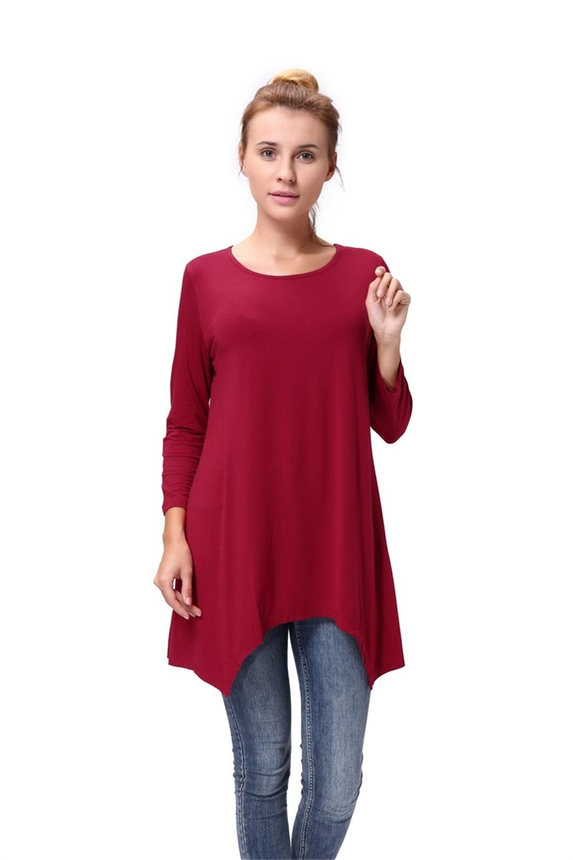 Women-Long-Tunic-Solid-Scoop-Neck-Top-3-4-Sleeve-Trapeze-Dress-Loose-Shirt-S-XL thumbnail 23