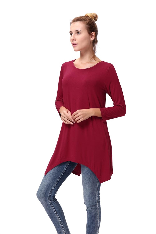 Women-Long-Tunic-Solid-Scoop-Neck-Top-3-4-Sleeve-Trapeze-Dress-Loose-Shirt-S-XL thumbnail 24