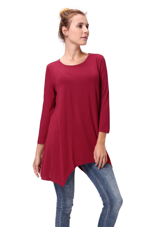 Women-Long-Tunic-Solid-Scoop-Neck-Top-3-4-Sleeve-Trapeze-Dress-Loose-Shirt-S-XL thumbnail 25