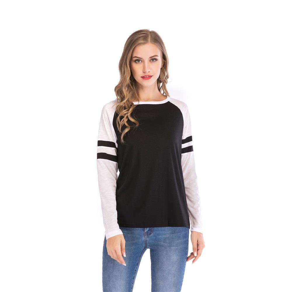 Fashion-Women-Ladies-Loose-Casual-Long-Sleeve-T-Shirt-Splice-Blouse-Black-Tops thumbnail 11