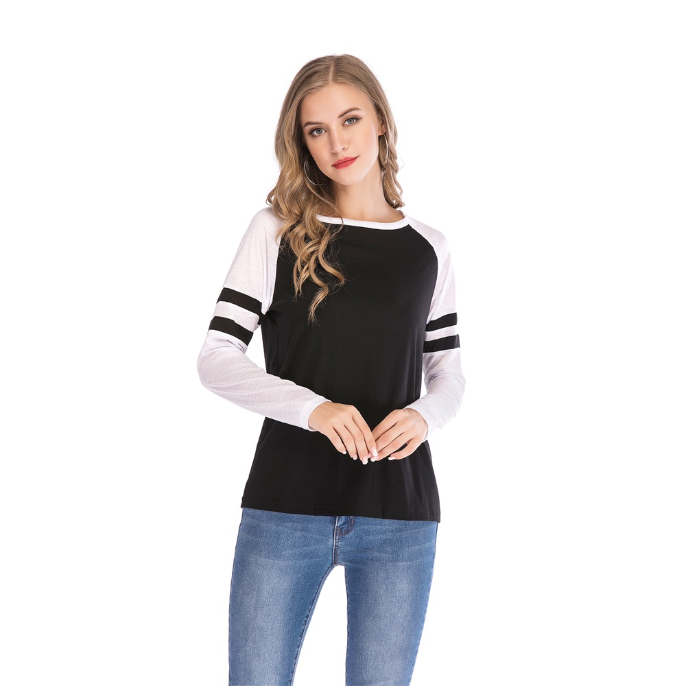 Fashion-Women-Ladies-Loose-Casual-Long-Sleeve-T-Shirt-Splice-Blouse-Black-Tops thumbnail 12