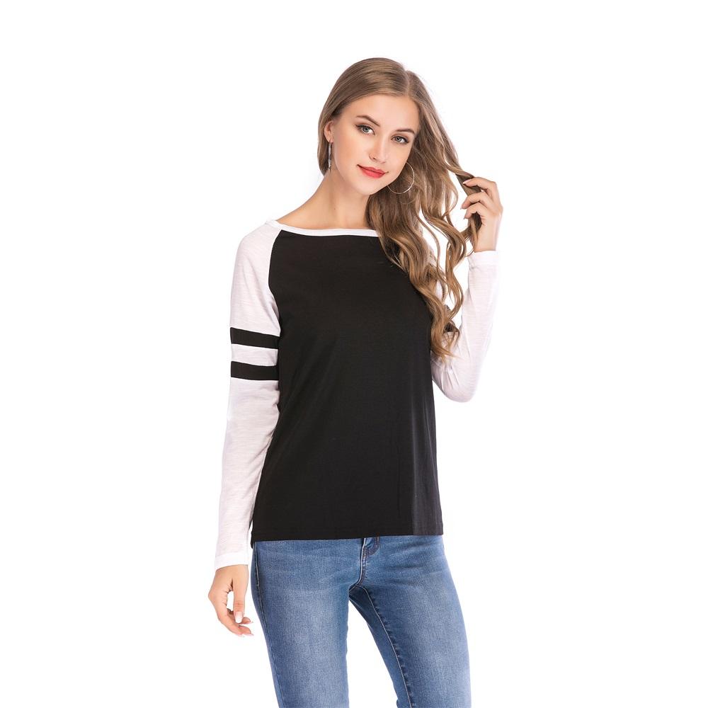 Fashion-Women-Ladies-Loose-Casual-Long-Sleeve-T-Shirt-Splice-Blouse-Black-Tops thumbnail 13