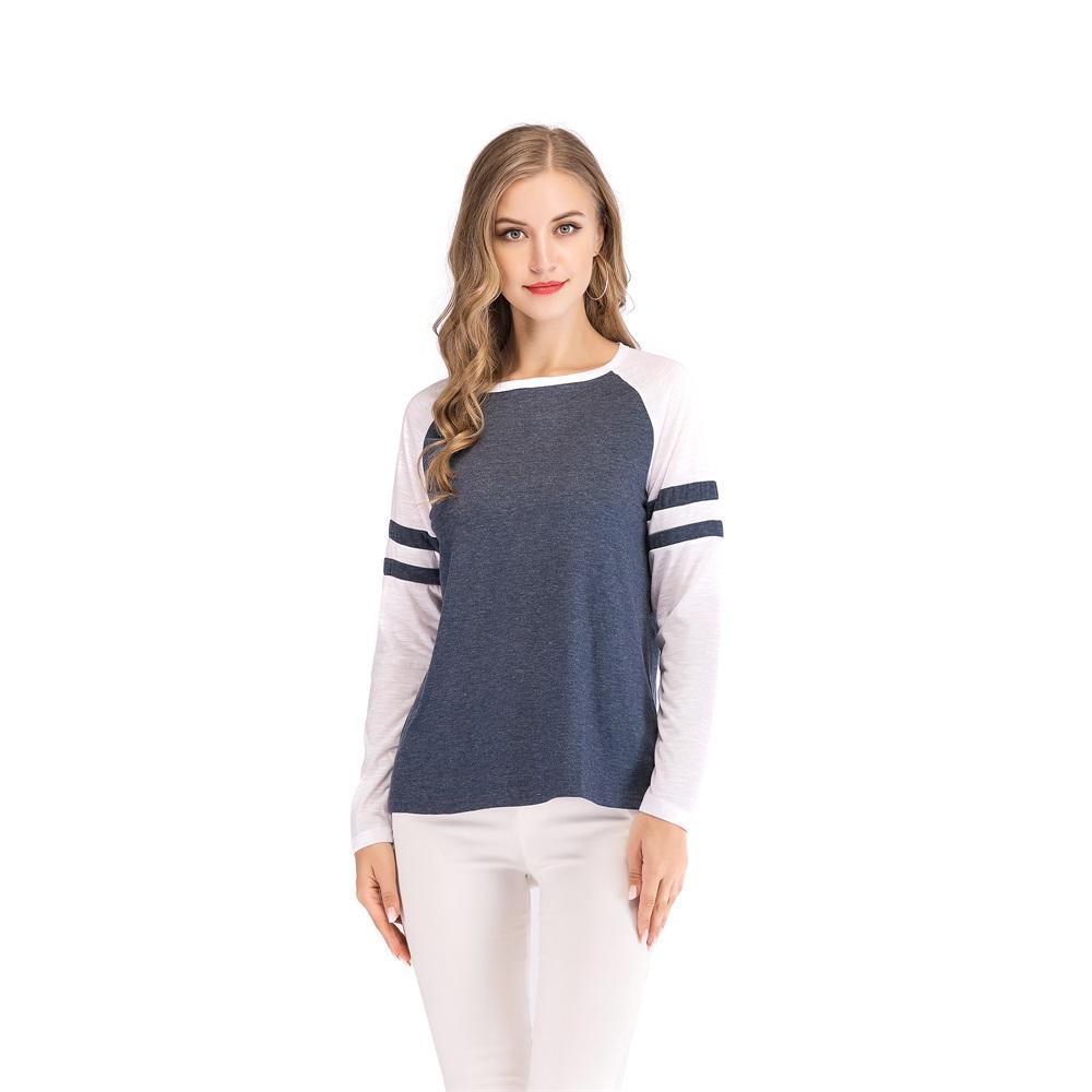 Fashion-Women-Ladies-Loose-Casual-Long-Sleeve-T-Shirt-Splice-Blouse-Black-Tops thumbnail 15